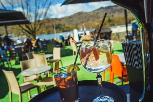 Lake View Garden Bar - Outdoor dining in the Lake District - Bar area with cola drink and gin cocktail