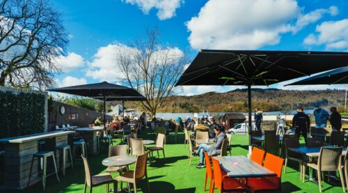 Lake View Garden Bar - Outdoor dining in the Lake District - Terrace area with lake views and umbrellas